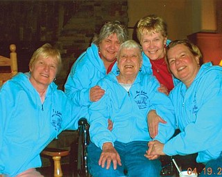 Celebrating 60 years of going to Conneaut, Sarah Massie, center, is surrounded by her daughters, from left, Audrey Spahr, Joanne Haddle, Chrissy Medvec and Betsy Turner.