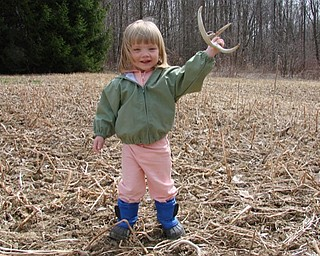 Jayli Wilt, 21⁄2, of Canfield, found a deer shed at Aunt Karen and Uncle Jeff's backyard in March this year.