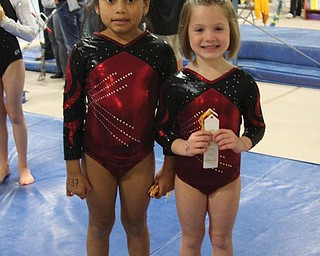 Kate Coppola, 6, of Lowellville; and Angelina Rotunno, 5, of Poland, both gymnsatics students at Kathi's Dance in Poland, pose after winning second and third place in Level 3-Age 6 and Under at the Northeast Ohio Gymnsatics League Competition at Great Lakes Gymnsatics in Avon Lake on Nov. 15.