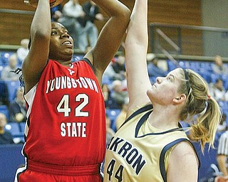 YSU's Brandi Brown looks to shoot around Akron's Kyle Baumgartner during Saturday action in Akron.