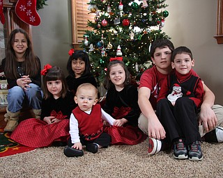 Christmas brought these siblings and cousins together: Ally, Joey and Kate Coppola and triplets Lily, Carli and Patrick Vari-Coppola, all of Lowellville, and Andrew Silvers of New Castle, Pa.