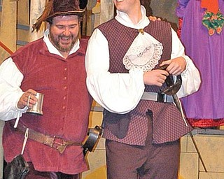 'TWELFTH' ROLES: From left, Tom Schaffer as Sir Toby, Mike McGrail as Sir Aguecheek and Sophie West as Maria.