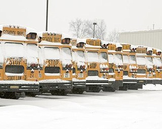 Austintown buses covered in snow and ice sit idle at the garage on the school complex off of Raccoon Road. Schools were closed today providing another three day weekend.
