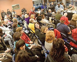 TAX TIME: Mahoning County residents gathered at The Covelli Centre Monday night for the second of two public hearings conducted by the Mahoning County Commissioners on the county's half-percent sales tax. It was the second meeting held on the tax,. The first was last week in Canfield.