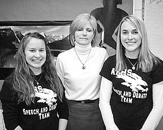 Special to The Vindicator HONORABLE: Representing the Fitch Interact Club at the annual Rotary Young Leadership conference will be Sammi Devenport, left, and Mandy Schneider, right. In the center is adviser Tina Kubacki. Austintown Rotary sponsors the club. Both club members are juniors at Fitch and were chosen for this award by Interact advisers Kubacki and Gary Reel. The event will draw more than 80 young leaders to the Avalon Inn in Warren on Feb.26-28, to participate in activities and hear speakers to inspire them. Salem Rotary Club is the facilitator of the three-day conference, with help from other Rotary Clubs and area resources.