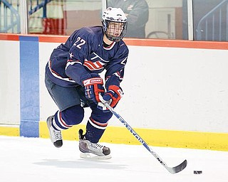 THE BOYS ARE BACK IN TOWN: Team USA features two players with ties to the Mahoning Valley. Pictured here is Brandon Saad, a Mahoning Valley Phantom during the 2008-09 season. Also playing for the Nationals is East Palestine native J.T. Miller. Saad was the NAHL Rookie of the Year last season while Miller was a member of the team that won the U-17 championship two weeks ago in Canada.