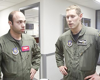 Pilot/Major Joe George of Pittsburgh and his co-Pilot First Lieutenant Steve Stroney of Liberty talk about their flight .