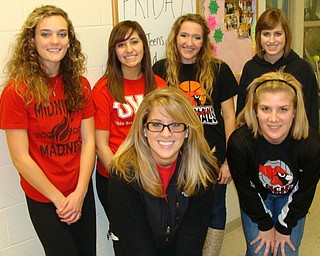The Canfield Y-Teens put together a Sock Hop at the high school Jan. 15. These officers and members of the organization, pictured from left,  planned the event. They are (front) vice president  Rachel Pintaric; treasurer Diana Konik; (back) president Kelly Fening; secretary Jenna Boris; member Audrey Smith and executive board member Brittany Bobovayik.