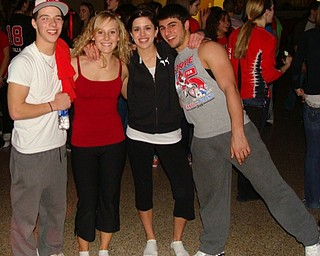 Brock McGivern (left), Brina Sturgeon, Kasey McMurry and Ben Angelo attended the Sock Hop Jan. 18 after the boys' varsity basketball game. The event was sponsored by the Canfield High School Y-Teens.