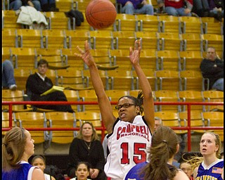 The Vindicator/Geoffrey Hauschild.Campbell's Jayaira Moses (15) during the third quarter of a game at Campbell High School on Wednesday evening.