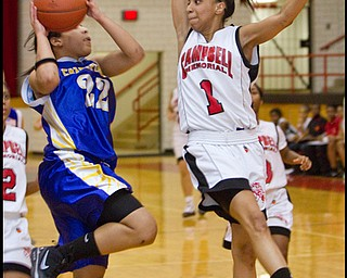 The Vindicator/Geoffrey Hauschild.Champion's Briana Lewis (22) Campbell's Tashira Uccta (1) during the fourth quarter of a game at Campbell High School on Wednesday evening.