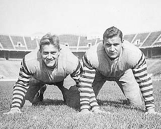 """John """"Ace"""" Congemi is on the right with Frank Terlecky in their defensive stance at Ohio State in 1938."""