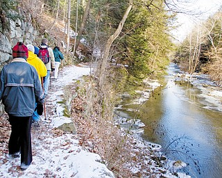 CHILLY DAY IN THE PARK: About 25 hikers braved sub-freezing temperatures to participate in a 2.5-mile walk Sunday in Mill Creek Park in Youngstown.
