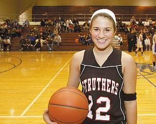 The Vindicator/Lisa-Ann Ishihara-- Struthers Dana Mathews (12) poses for a portrait before her game against Hubbard, Monday January 25, 2010