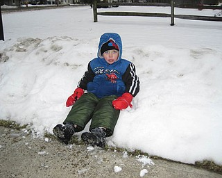 Bryson Nichols, 3 1/2, of Austintown takes a break from playing in the snow.