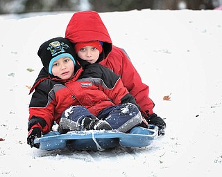 Alex and Nicholas LaPlante enjoyed sledding at the Poland Presbyterian Church right before Christmas..