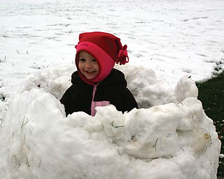 PEEK-A-BOO: With the help of her Uncle Mike, Ashlynn Mason spent her 2nd birthday playing in the snow at Grandma (Laurie) and Grandpa (Mike) FoxÕs house in Lowellville She is the daughter of Beth and Matthew Mason of Salem..