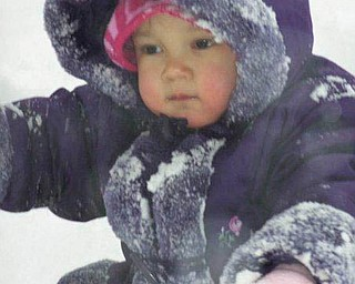 2-year-old Aydan Kotarski of Las Vegas, Nev., played in the snow for the first time during a visit with family in Canfield over the holidays. She is the daughter of Adam and Lori Kotarski..