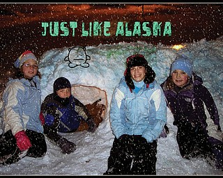 These neighborhood kids built this fort on a Poland Schools snow day. Working very hard as a team on the project are the VanScoter and Walkama children, left to right, Connie, Harrison, Maddison and Mirhanda. The children are both neighbors and very good friends residing on in Poland..