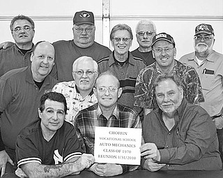 """Special to The Vindicator MECHANICALLY INCLINED: The 1970 graduating class of Choffin Vocational School auto mechanics celebrated its 40th reunion Jan. 31 at the Marshall Estates in Poland. Eleven of the 18 graduates attended, and one visited by telephone. Also present was the instructor, John """"Jack"""" Vasko. From left to right, first row, are Tom Mraz, Ron Musgrove Sr., and Gene Yusko; second row: Denny Furman, Edward Fenskie, Vasko and Ray Marshall; and third row: Rick Scenna, Joe Timkovich, Mike Donnaurnmo and Bob Glasser. Cliff Colwell, who visited by phone, Glasser, Marshall, Mraz and Musgrove were all from Chaney High School; Fenskie and Furman were from South High; Donnaurnmo and Yusko were from Wilson; Timkovich was from North; and Scenna was from Rayen. During the 1960s and '70s, students were hand-picked by Choffin Vocational instructors from the many Youngstown schools for the privilege of learning their vocation. The class is planning another reunion and is missing contact information for some classmates. If you haven't been contacted, or know someone who hasn't, get in touch with one of the men above."""