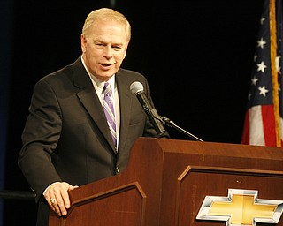 Robert K. Yosay /The Vindicator.Ted Strickland Govenor talks about bringing the Cruze and the extra shift to Lordstown - 30-