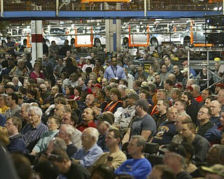 Robert K. Yosay /The Vindicator.Hundreds of workers listen as President North America Mark Reuss - tells of adding the third shift at Lordstown - 30-