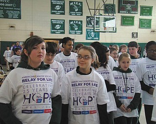 The students at St. Patrick School in Hubbard raised $1,874.15 for the American Cancer Society by participating in a mini relay that took place in January in conjunction with the celebration of Catholic Schools Week. The students collected donations from sponsors for each lap they walked during the day. The school has raised nearly $10,000 for the American Cancer Society since the fundraiser was initiated four years ago. Students who took part in the event are wearing their official Relay for Life T-shirts.