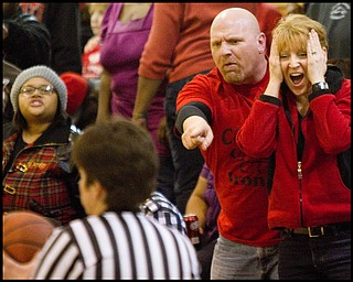 Geoffrey Hauschild The Vindicator.Campbell fans disagree with a call during the fourth quarter at Mineral Ridge High School on Saturday afternoon.