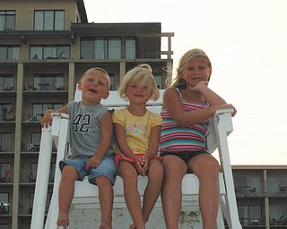Three little beach bums at Ocean City, Md., in August 2008 are  Robby, Hannah and Morgan Kist..