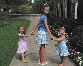 Mia, Annika and Carlie Lazazzera enjoying a walk through the Rose Gardens..
