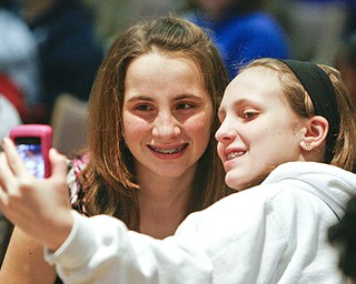 ROBERT K. YOSAY | THE VINDICATOR.. BEE FRIENDS -  Samantha Blasko from St Christine and her friend Carly Trefethern  take a quick photo before the start of the 2010 -77th Vindicator Spelling Bee was held  at the Chestnut Room at Kilcawley Center at YSU - 30-