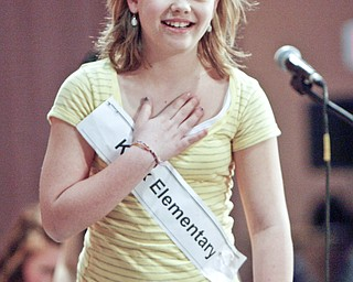 "ROBERT K. YOSAY | THE VINDICATOR..can you spell RELIEF - as Kaley Anderson from Knox Elementary breaths a sigh of relief as she walks away  after spelling ""sukiyaki"" correctly  in the 2010 -77th Vindicator Spelling Bee was held  at the Chestnut Room at Kilcawley Center at YSU - 30-"