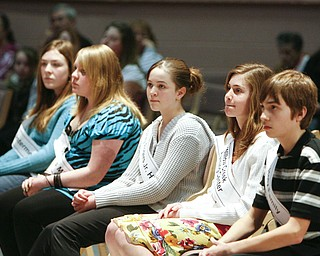 ROBERT K. YOSAY | THE VINDICATOR..The Top Five - Julia Miglets Springfield Rachel Mass Struthers Middle school Hannah Woodward Volney ROgers Junior High -  Lauren Ann Ritz Willow Creek and  Andrew Rossi from Holy Family in the 2010 -77th Vindicator Spelling Bee was held  at the Chestnut Room at Kilcawley Center at YSU - 30-