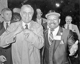 """Then-Youngstown City Councilman Herman """"Pete"""" Starks, right, stands with then-Democratic presidential candidate Walter Mondale at a campaign event in Youngstown. Starks, who served as a city councilman 22 years, died Sunday at 80."""