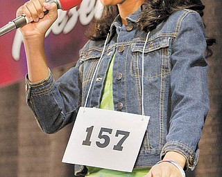 """Gariana Bercheni, 12, of Warren, performs during a local casting call for NBC's """"America's Got Talent"""" television show at Eastwood Mall in Niles on Sunday afternoon."""