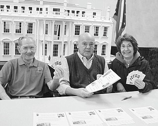 """The Vindicator: Niles Historical Society will host a dinner at 6 p.m. April 27 at Ciminero's, 123 Main St., Niles. Society members displaying tickets to be sold for the event are, from left, Frank Burke, assistant treasurer; Fremont Camerino, president; and Patty Nelson, vice president. Tickets are $20 and available from any society member or by calling the museum at (330) 544-2143. Reservations are required by April 21. In conjunction with the dinner, Sarah Webster, director of East Liverpool Museum of Ceramics, will present a program on """"Hidden Beauties: The Art Pottery of East Liverpool"""" and show examples of wares by individual potters and decorators."""