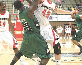 YSU - (42) Dallas Blocker plays tough defense on (10) Troy Cotton during their game Sunday afternoon. - Special to The Vindicator/Nick Mays