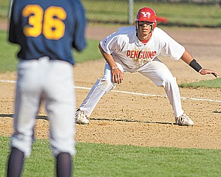 Geoffrey Hauschild|The Vindicator.YSU's Jeremy Banks (3) keeps his eye on Canisius pitcher Matt Thomas (36) while leading off first base during the 8th inning on Wednesday afternoon at Cene Park in Struthers.