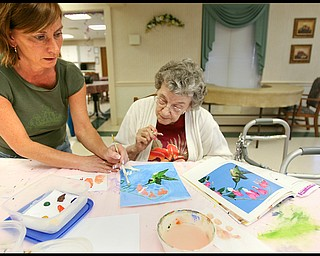 ROBERT K. YOSAY | THE VINDICATOR...Helping out is  Trish Blackman as she helps Jean Boesch with a hummingbird -  Residents of Ashley Circle at Briarfield in Austintown paint with instruction from Suzanne Gray. Now they have a little gallery, called PicassoÕs Corner, at the facility, to display their work.-30-.