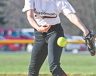 Boardman ace Nicola Gabriele (10) beat back the flu and the Ursuline Irish, throwing a one-hitter in her first varsity start on the mound.