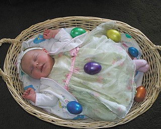 This is a first Easter picture of Madalyn Dunn, daughter of Candace and Russ Dunn of Austintown..