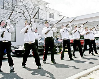 William D. Lewis | The Vindicator Members of Newton Falls Veterans Honor Guard fire a 21 gun salute during funeral service for Joshua Sherbourne, one of 3 Marine recruits, killed in a traffic accident. Services were held at Carl W. Hall Funeral Home in Warren Monday..