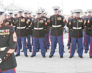 William D. Lewis | The Vindicator A group of Marines fromthe Cleveland recruiting office attended funeral service for Joshua Sherbourne, one of 3 Marine recruits, killed in a traffic accident. Services were held at Carl W. Hall Funeral Home in Warren Monday..