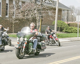 William D. Lewis | The Vindicator  Motocycles lead funeral procession for Joshua Sherbourne, one of 3 Marine recruits, killed in a traffic accident. Services were held at Carl W. Hall Funeral Home in Warren Monday.
