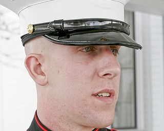 William D. Lewis | The Vindicator Marine Sgt Martin Harris from the Cleveland Marine recruiting office was among a group of Marines ttending funeral for Joshua Sherbourne, one of 3 Marine recruits, killed in a traffic accident. Services were held at Carl W. Hall Funeral Home in Warren Monday.
