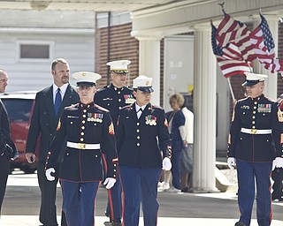 LISA-ANN ISHIHARA | THE VINDICATOR -- Marines leave James Funeral Home at 8  East Broad St in Newton Falls after paying at the calling hours for Zachary A. Nolen, one of three victims in fatal accident last week.