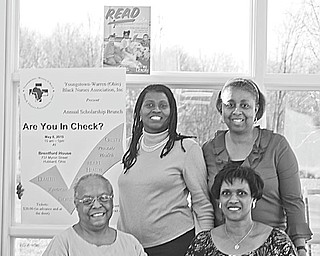 Members of the Youngstown Warren (Ohio) Black Nurses Association who are serving on the organization's scholarship committee are, standing from left, Lynn Veal, president, and Brenda Averhart, scholarship chairwoman, and, seated from left, Ester McCain and Cynthia McWilson, media representatives.
