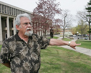 Harvey Kayne, a Valley resident who was a graduate student at Kent State on May 4, 1970 when four students were killed by Ohio National Guard gunfire, stands near the site of the shootings on campus.