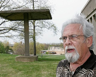 Harvey Kayne, a Valley resident who was a graduate student at Kent State on May 4, 1970 when 4 students were killed by Ohio National Guard gunfire, stands near the site of the shooting on the Kent campus.