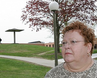 Jane Doughton, a Valley resident who was a student at Kent State on May 4, 1970 when four students were killed by Ohio National Guard gunfire, stands near the site of the shooting on the Kent campus.